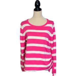 Pink & White Stripe Sweater Cotton Crown Ivy Sz L